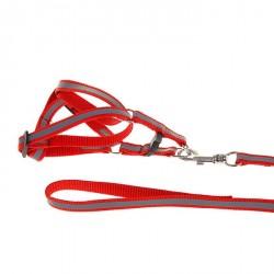 01221104-02 Комплект нейлон светоотражающий поводок 10мм, 120 см + шлейка 10мм 20/40см красный