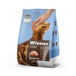 Winner,полнорационный сухой корм для взрослых кошек всех пород,из курицы,2 кг (Мираторг)