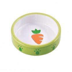 Миска керамическая для грызунов 70 мл Зеленая с морковью