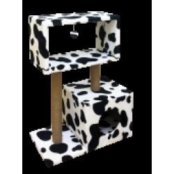 Когтеточка Столбик куб с мезонином с игрушкой Джут 60*35*85см