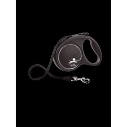 Flexi рулетка Black Design L(до 50 кг) 5 м ,черный/серебро