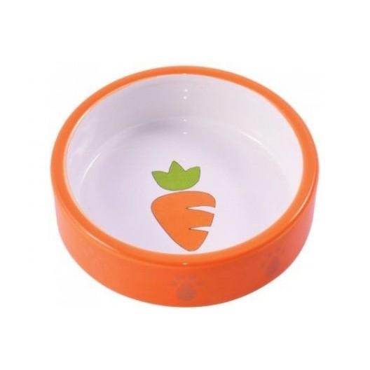 Миска керамическая для грызунов 70 мл Оранжевая с морковью