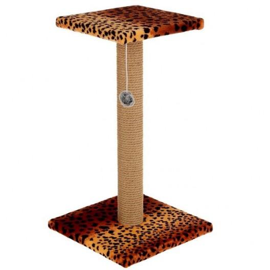 Когтеточка столбик с площадкой.Джут/игрушка 54*30 см