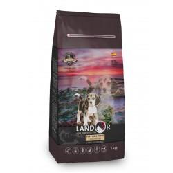 LANDOR  полнорационный сухой корм для щенков всех пород(1-18мес.),утка с рисом 1кг