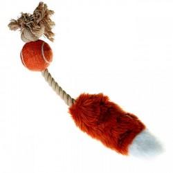 Игрушка мячик с лисьим хвостом и пищалкой