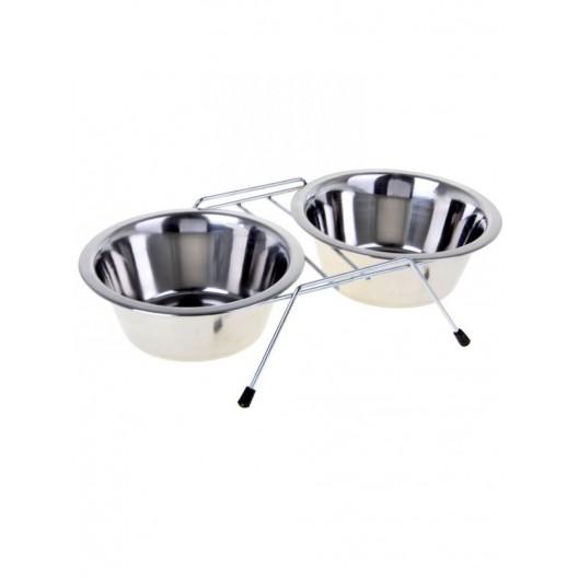 Купить миска двойная металлическая на подставке 360мл