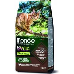Monge Cat Bwild GRAIN FREE беззерновой корм из мяса буйвола для крупных кошек всех возрастов,1,5кг