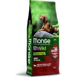 Monge Dog Bwild  GRAIN FREE беззерновой корм из мяса ягненка с картофелем и горохом для взр.соб.12кг