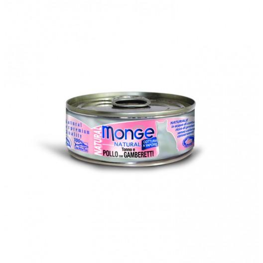 Купить Monge консервы для кошек, тунец с курицей и креветками, 80гр.