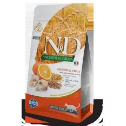 N&D Cat 300 гр низкозерновой корм для взрослых кошек ,треска с апельсином
