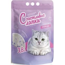 Наполнитель Счастливые лапки для кошек силикагелевый с ароматом лаванды,3,8л