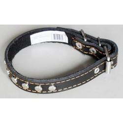 Ошейник кожаный с украшением с синтепоном ширина 35мм, обхват шеи от50-59 см.