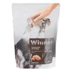 Winner,полнорационный сухой корм для стерилизованных кошек,из курицы,0,4кг (Мираторг)