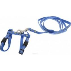 комплект поводок 10мм,120см+шлейка 10мм 20/40см синий