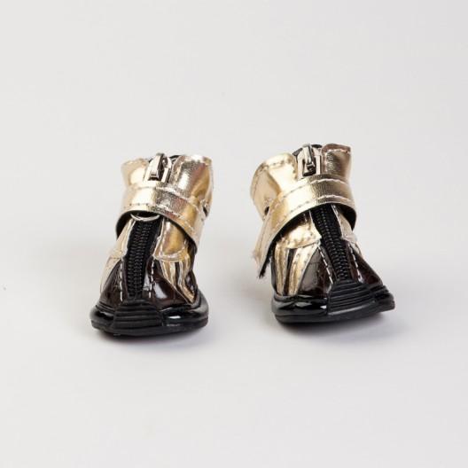 Купить Обувь для собак коричневые с золотом №0   4 шт.