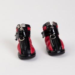 Обувь д/собак красные с черным №1   4 шт.