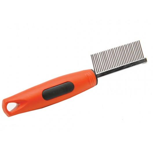 Купить Расческа с прорезиненной ручкой длинный средний зуб №5