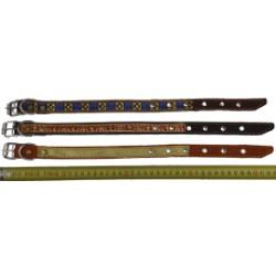 Ошейник кожаный с интепоном, с тесьмой 35 мм, 55-64 см