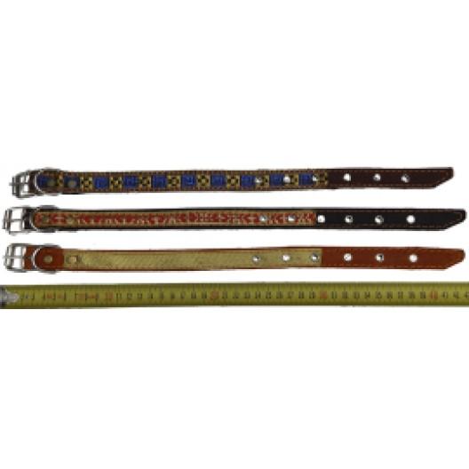 Купить Ошейник кожаный с интепоном, с тесьмой 35 мм, 55-64 см