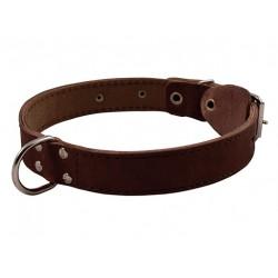 Ошейник кожаный двойной с кольцом посередине 20 мм, 31-39 см