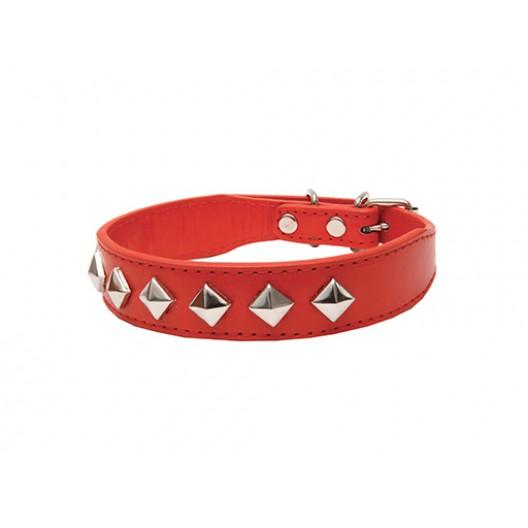 Купить Ошейник Эко-кожа с украшением Ромб, красный 30 мм *45 см