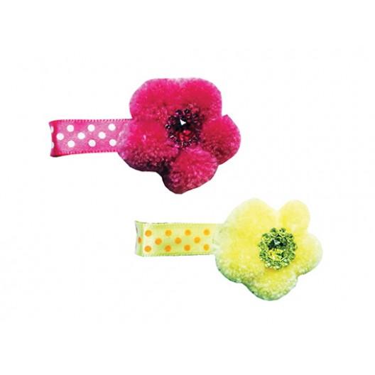Купить Заколка Меховой цветок 4*3 см