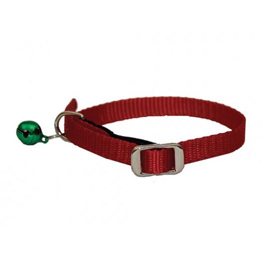 Купить Ошейник нейлон для кошек с бубенчиком и резинкой 10 мм*35 см красный
