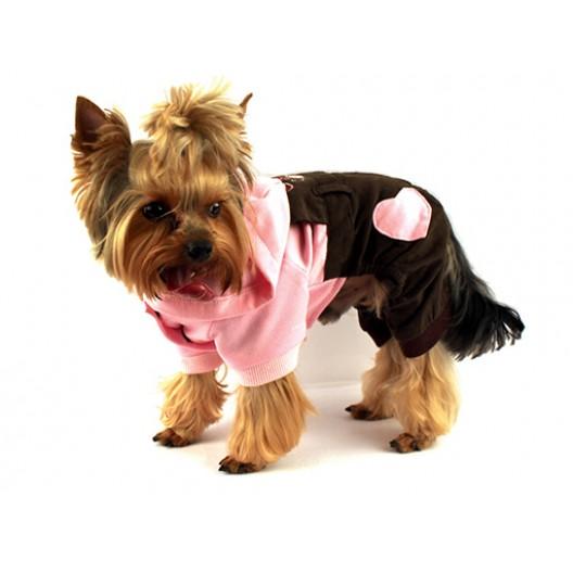 Купить Комбинезон HAPPY с капюшоном розовый с коричневым 30 см