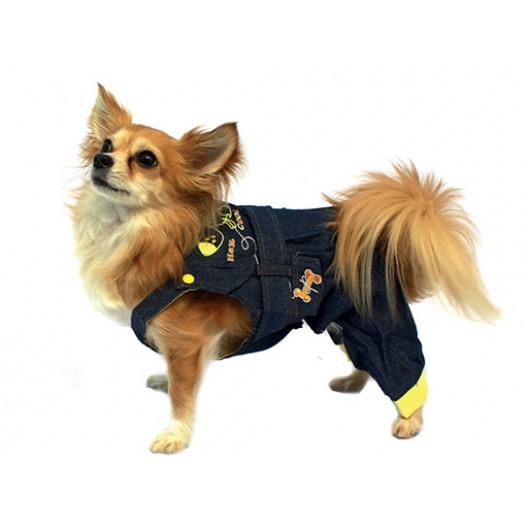 Купить Полукомбинезон джинсовый синий с желтым 20 см
