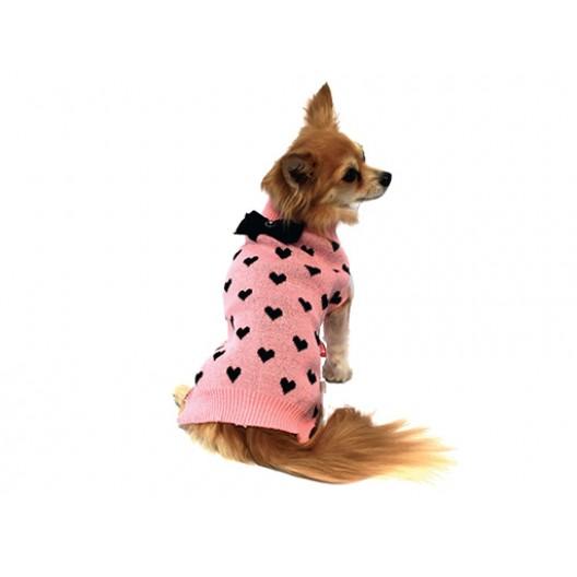 Купить Свитер жаккард Сердечки розовый 25 см