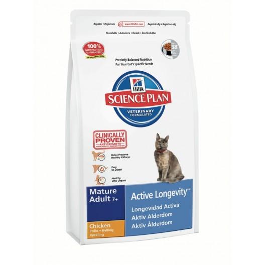Купить Hills SP Feline MA7+ ALong Chicken сухой корм для пожилых кошек со вкусом курицы 300 г.