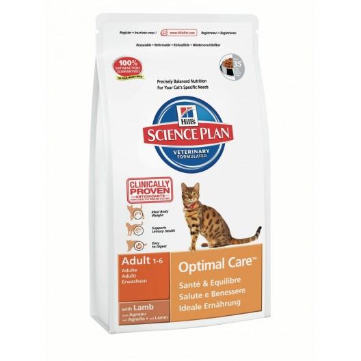Купить Hills Optimal Care  сухой корм для кошек от 1 до 6 лет ягненок 400 г