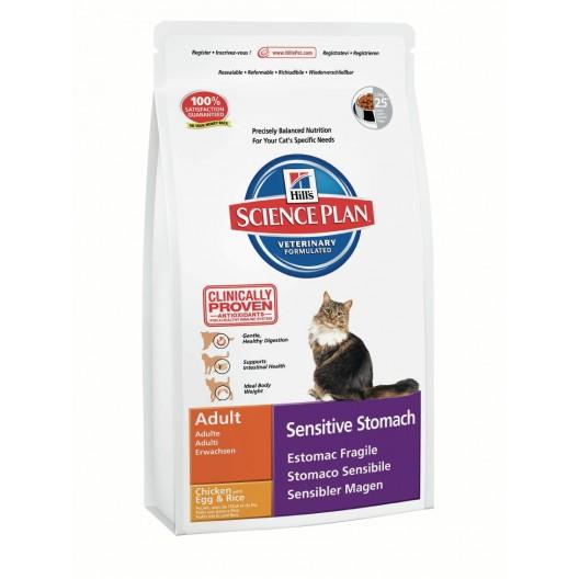Купить Hills Feline Adult SensStomach Chicken with Egg & Rice для кошек с чувствительным желудком 400 г.