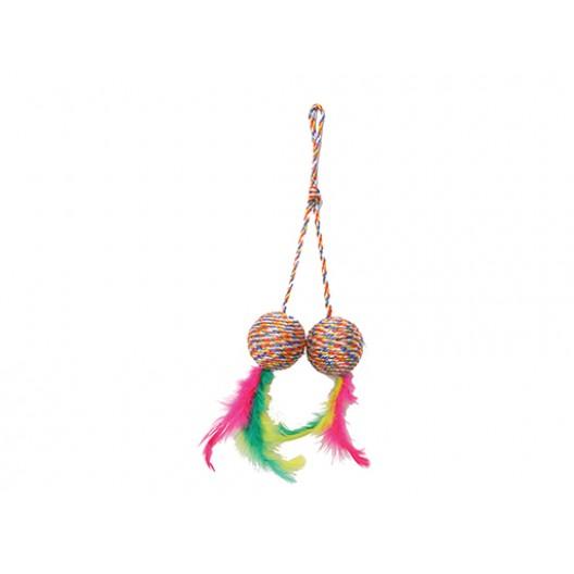 Купить Когтеточка-мяч двойной с перьями 5 см
