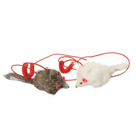 Купить Мышь длинный мех на пружине 9 см