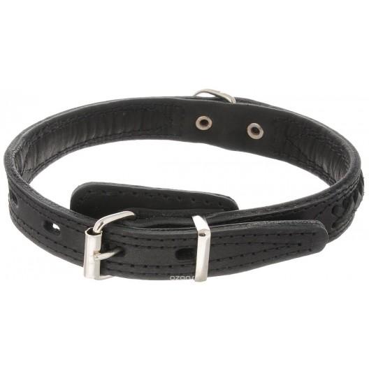 Купить Ошейник кожаный двойной (спилок) с кольцом перед пряжкой с укр. 35 мм, 50-59 см
