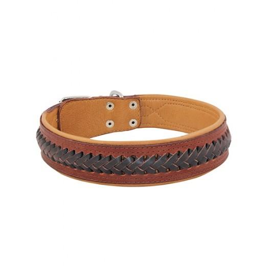 Купить Ошейник кожаный двойной (спилок) с косицей 35 мм, 55-64 см