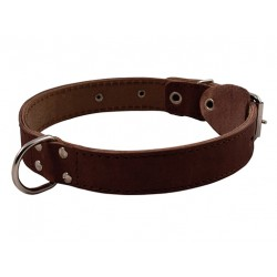 Ошейник кожаный двойной с кольцом посередине 30 мм, 49-58 см