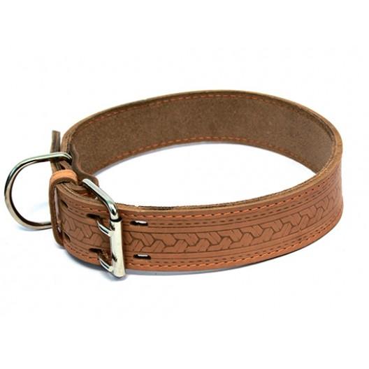 Купить Ошейник кожаный с накаткой с синтепоном 30 мм, 49-58 см