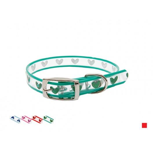 Купить Ошейник Синтетик прозрачный с украшением Сердце 15 мм*36 см
