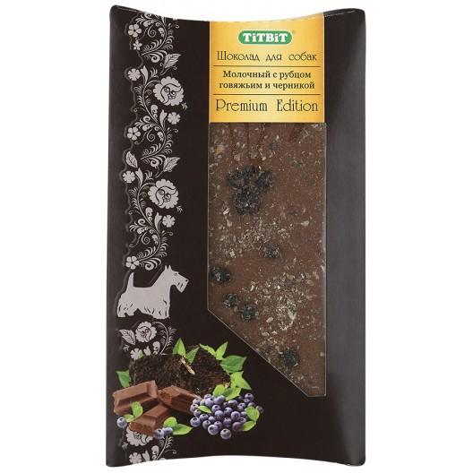 Купить Шоколад Premium Edition молочный с рубцом говяжьим и черникой 50 г TiTBiT