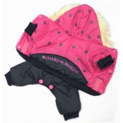 Куртка с капюшоном мех зима розовая на кнопках