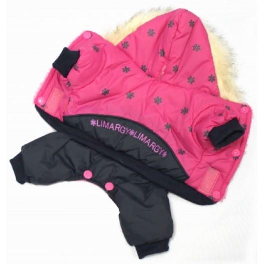 Купить Куртка с капюшоном мех зима розовая на кнопках