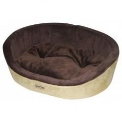 Лежак для собак и кошек коричневый с белым, съемная подушка