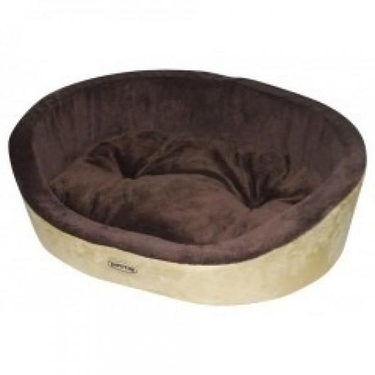 Купить Лежак для собак и кошек коричневый с белым, съемная подушка