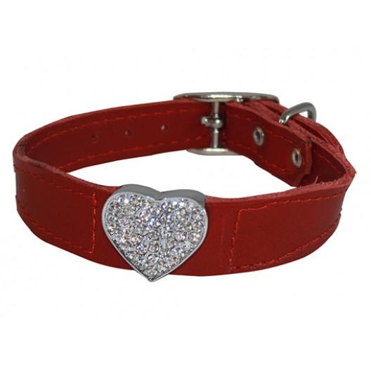 Купить Ошейник кожаный Флер с украшением Сердце большое со стразами