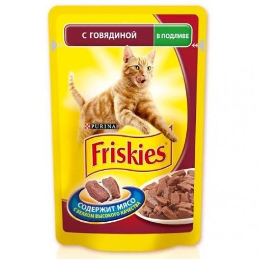 Купить Friskies для кошек говядина в подливе 100 г.