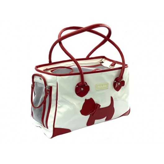 Купить Сумка лаковая белая с красным Собачка 40*28 см