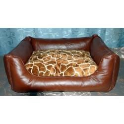 Лежак серии Ланг гранатовый, иск.кожа и меб. ткань 49*36*22 см