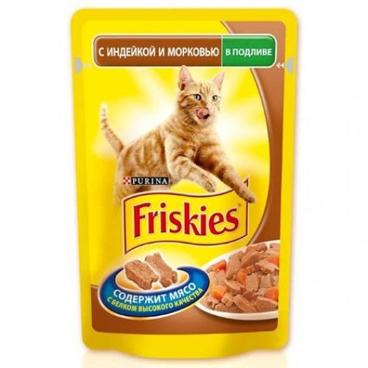Купить Friskies для кошек с индейкой и морковью в подливе 100 г.